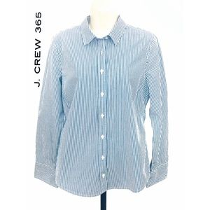 J. CREW 365 BLUE & WHITE BUTTON DOWN Sz 12